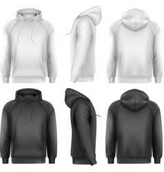 Set of black and white male hoodies with sample vector