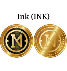 Set of physical golden coin ink ink vector
