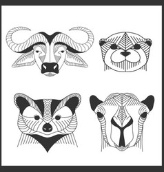 set of polygonal animals polygonal logos vector image