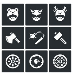 Set of Viking Weapons Icons Head Man vector image vector image