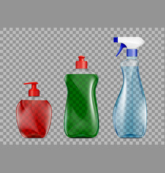 Set plastic packaging with detergent vector