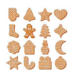 set tasty gingerbread cookies for christmas vector image