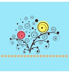 Shining flowers circle background vector image