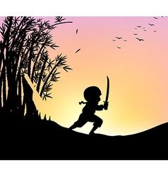 Silhouette ninja cutting bamboo with sword vector