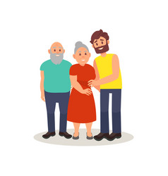 smiling elderly couple and their adult son posing vector image