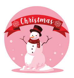 snowman of christmas with ribbon vector image