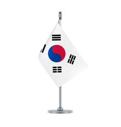 south korean flag hanging on the metallic pole vector image