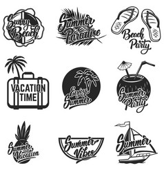 summer emblems set hand drawn lettering vector image