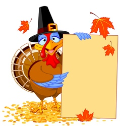 Thanksgiving Turkey with Holiday Note vector image