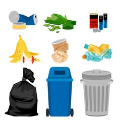 Trash set with garbage bins vector
