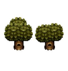 Tree - pixel art design vector