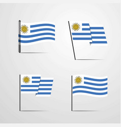 Uruguay waving flag set design vector