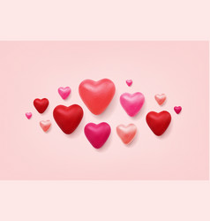 valentines day 3d hearts vector image