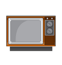 Vintage television set 1970s retro style vector