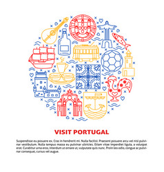 Visit portugal round concept with icons in line vector