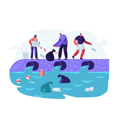 water plastic pollution people dumping garbage vector image