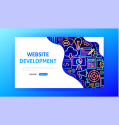 Website development neon landing page vector
