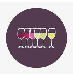 Wine glasses icon Red white and rose wine vector
