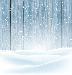 winter snow on wood background 3009 vector image