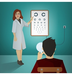 Woman Ophthalmologist Examining Patient vector image
