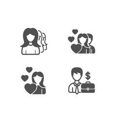 Women headhunting love and couple icons vector