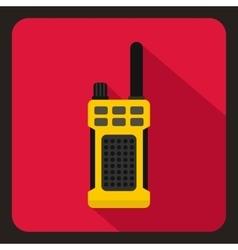 Yellow portable handheld radio icon flat style vector image