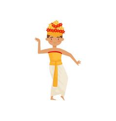 Young man dancing traditional balinese dance guy vector