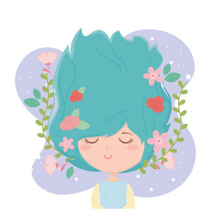 Young woman flowers in hair decoration purple vector