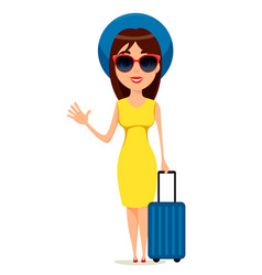 Young woman go travel standing with suitcase and vector