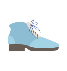 blue lace-up shoe isolated footwear flat icon vector image vector image