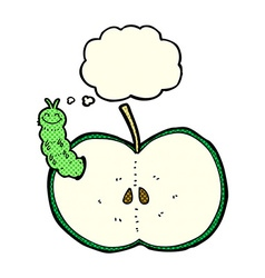 cartoon bug eating apple with thought bubble vector image vector image