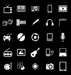 Entertainment icons on black background vector image vector image
