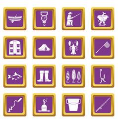 fishing tools icons set purple vector image vector image