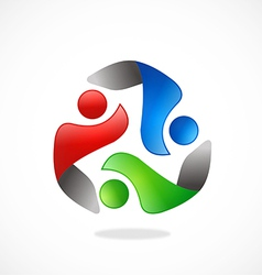 people circle teamwork logo vector image vector image