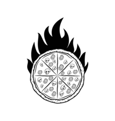 Pizza Silhouette Fire Badge Isolated On White vector image