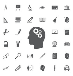thinking icon silhouette of gear in head flat vector image