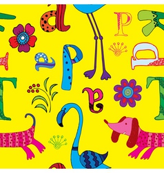 animal and alphabet vector image vector image
