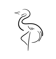 black stylized stork on a white background vector image