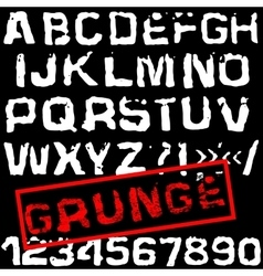 Grunge retro font Stamped type white vector image