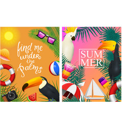 nautical summer cards marine vacation on the vector image