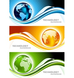 Set of banners with globe vector image vector image