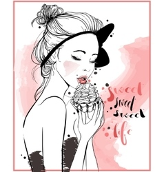 young beautiful woman with cake vector image