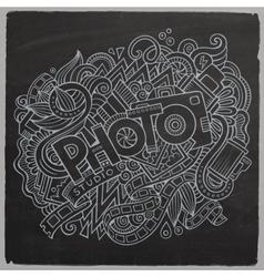 Cartoon cute doodles hand drawn Photo inscription vector image vector image