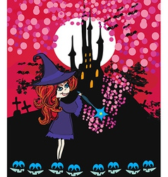 Cute cartoon of a witch vector image vector image