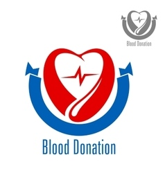 Blood donation icon with heart and drop vector image vector image