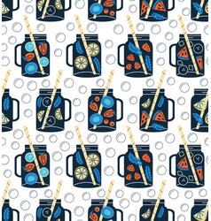 detox water in drinking jars seamless pattern vector image vector image