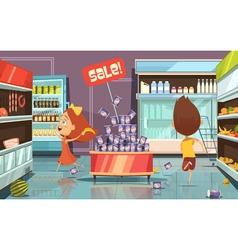 Kids In A Shop vector image vector image