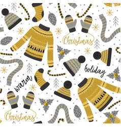 seamless pattern with gold christmas warm clothes vector image