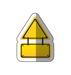 Sticker yellow triangle shape warning traffic sign vector