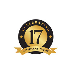 17th year celebrating anniversary emblem logo vector